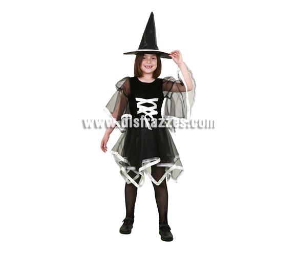 Disfraz de Bruja lazo blanco barato talla de 10 a 12 años para Halloween. Incluye sombrero y vestido.