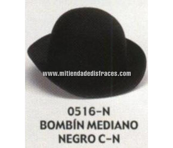 Sombrero Bombín mediano negro con cinta negra. Buena calidad, fabricado artesanalmente en España. Posibilidad de ajuste de precio para grupos.