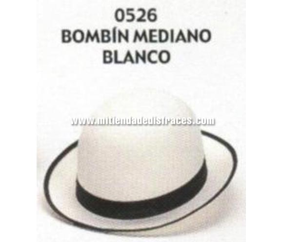 Sombrero Bombín mediano blanco