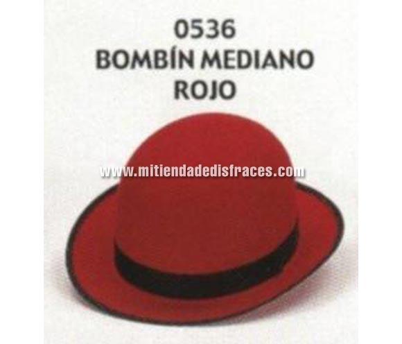 Sombrero Bombín mediano de color rojo. Buena calidad, fabricado artesanalmente en España. Posibilidad de ajuste de precio para grupos.