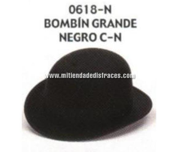 Sombrero Bombín grande negro con cinta negra. Buena calidad, fabricado artesanalmente en España. Posibilidad de ajuste de precio para grupos.
