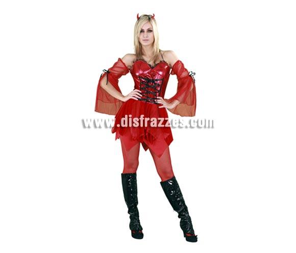 Disfraz de Diablilla o Demonia Sexy adulta para Halloween. Talla estándar M-L = 38/42. Disfraz de Diablesa de Halloween que incluye vestido con mangas y cuernos.