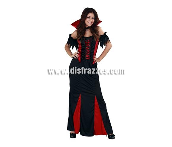Disfraz de Señora Vampiresa adulta para Halloween. Talla Standar M-L 38/42. Disfraz de Halloween barato que incluye top con cuello, falda y gargantilla.