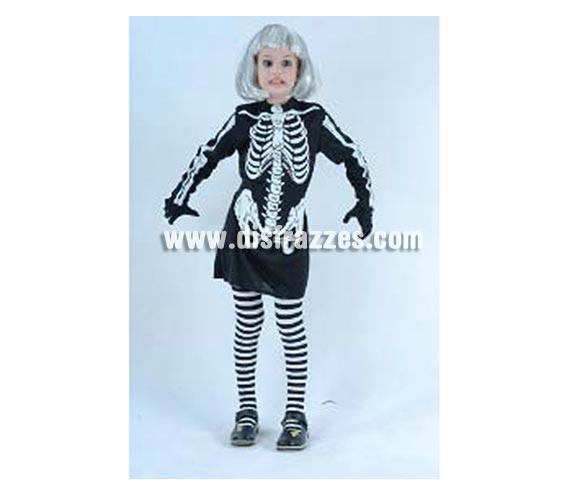 Disfraz barato de Esqueleto niña 5-6 años para Halloween