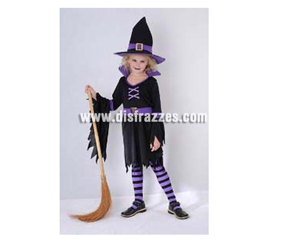 Disfraz de Bruja Glamurosa infantil para Halloween. Talla de 5 a 6 años. Incluye vestido, sombrero y cinturón. Escoba  medias NO incluidas, podrás verlas en la sección Complementos.