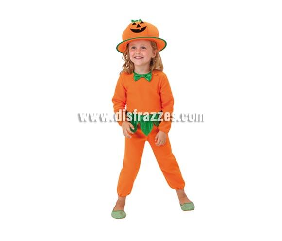 Disfraz de Calabaza infantil para Halloween. Talla de 3 a 4 años. Disfraz barato de Halloween que incluye mono y sombrero.