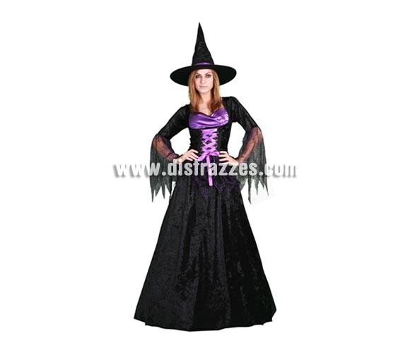 Disfraz de Bruja Púrpura adulta para Halloween. Talla stándar M-L = 38/42. Incluye vestido y sombrero.