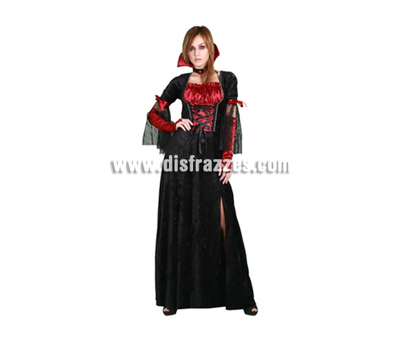 Disfraz de Vampiresa vestido largo adulta para Halloween. Talla estándar M-L 38/42. Disfraz barato de Halloween que incluye vestido, collarín y guantes.