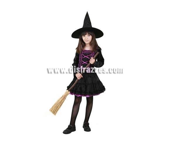 Disfraz de Brujita vestido tutú infantil para Halloween barato. Talla de 5 a 6 años. Incluye vestido y sombrero. Escoba NO incluida, podrás verla en la sección Complementos.