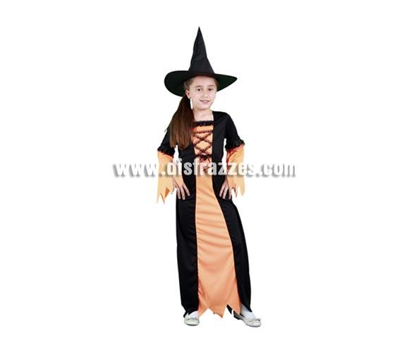 Disfraz de Bruja Naranja vstido largo infantil barato para Halloween. Talla de 7 a 9 años. Incluye vestido y sombrero de bruja.