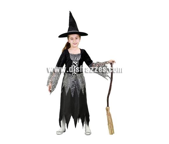 Disfraz de Bruja gris y negro infantil barato para Halloween. Talla de 5 a 6 años. Incluye vestido y gorro. Escoba NO incluida, podrás verla en la sección Complementos.