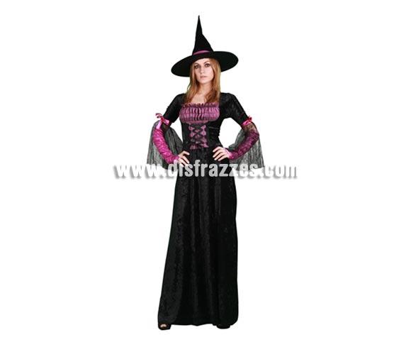 Disfraz de Bruja Púrpura vestido largo de adulta para Halloween barato. Talla Standar M-L =  38/42. Incluye vestido, sombrero y mangas.