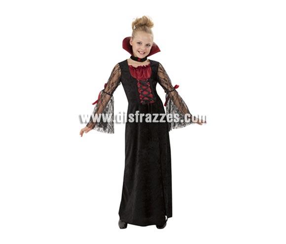 Disfraz de Vampiresa infantil barato para Halloween. Talla de 7 a 9 años. Incluye vestido y collarín.