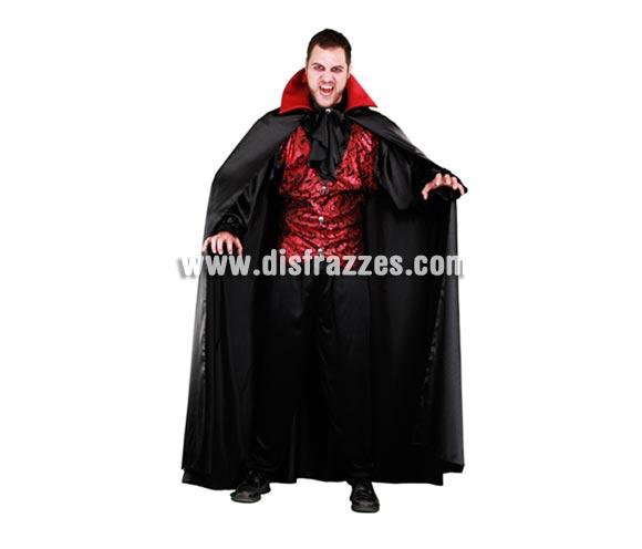 Disfraz de Vampiro lujoso adulto para Halloween. Talla estándar M-L = 52/54. Disfraz de Drácula lujoso para Halloween que incluye camisa con chaleco y capa.