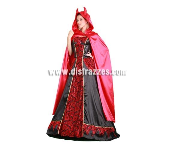 Disfraz de Condesa Diabólica lujo adulta para Halloween. Talla estándar M-L = 38/42. Disfraz de Diablesa de buena calidad para Halloween que incluye vastido, capa con capucha y cuernos.