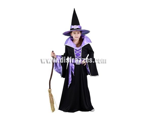 Disfraz de Bruja Morada de vestido largo infantil para Halloween barato. Talla de 7 a 9 años. Incluye sombrero, vestido y cinturón. Escoba NO incluida, podrás verla en la sección Complementos.