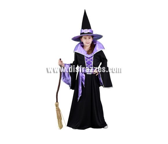 Disfraz de Bruja Morada de vestido largo infantil para Halloween barato. Talla de 10 a 12 años. Incluye sombrero, vestido y cinturón. Escoba NO incluida, podrás verla en la sección Complementos.