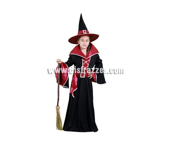 Disfraz de Bruja Granate de vestido largo infantil para Halloween barato. Talla de 7 a 9 años. Incluye sombrero, vestido y cinturón. Escoba NO incluida, podrás verla en la sección Complementos.