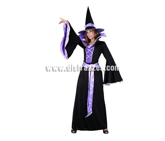 Disfraz de Bruja Morada adulta para Halloween. Talla estándar M-L = 38/42. Disfraz de Halloween barato que incluye el sombrero, el vestido largo y el cinturón.