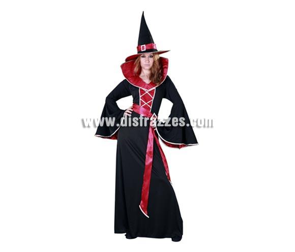 Disfraz de Bruja Granate adulta para Halloween. Talla estándar M-L = 38/42. Disfraz de Halloween barato que incluye el sombrero, el vestido largo y el cinturón.