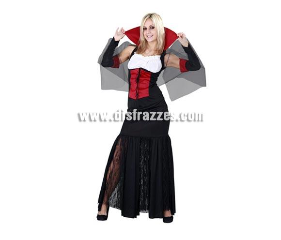 Disfraz de Vampiresa adulta para Halloween. Talla estándar M-L = 38/42. Disfraz de Vampira de Halloween que incluye cuello, vestido y mangas.