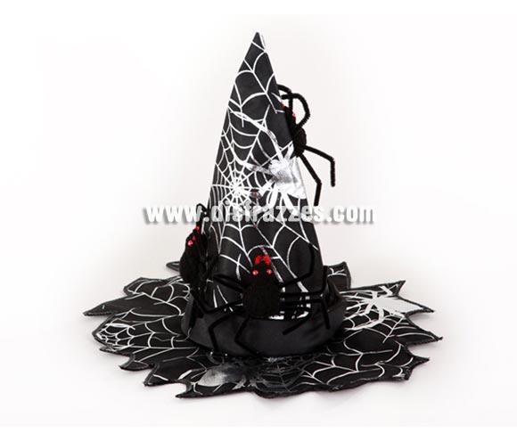 Sombrero de Bruja con araña para Halloween barato. Talla de adultos.