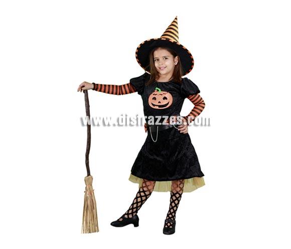 Disfraz de Brujita Calabaza infantil para Halloween barato. Talla de 5 a 6 años. Incluye vestido y sombrero. Escoba NO incluida, podrás verla en la sección Complementos.