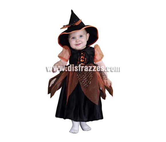 Disfraz de Bruja o Brujilla Bebé barato para Halloween. Talla de 1 a 2 años. Incluye vestido y sombrero.
