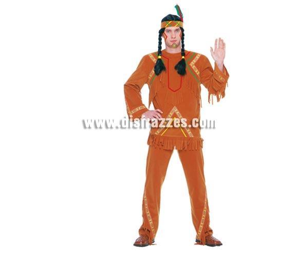Disfraz de Indio adulto para Fiestas y Carnavales. Talla única 52/54. Incluye cinta de la cabeza, camisa y pantalón. Peluca de trenzas NO incluida, podrás verla en la sección Complementos. Disfraz de Indio para hombre.