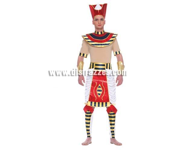 Disfraz de Egipcio adulto. Talla única 52/54. Incluye gorro, camisa, brazaletes, pectoral, falda y espinilleras. Disfraz de Ramses para hombre.