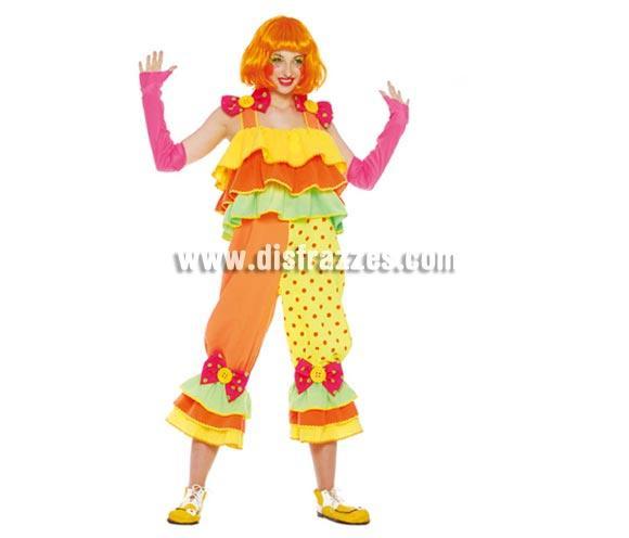 Disfraz de Payasa adulta. Talla única válida hasta la 42/44. Incluye vestido y mangas. Peluca y zapatones NO incluidos, podrás verlos en la sección Complementos. Disfraz de Payasa para mujer perfecto para Fiestas y para Carnaval.