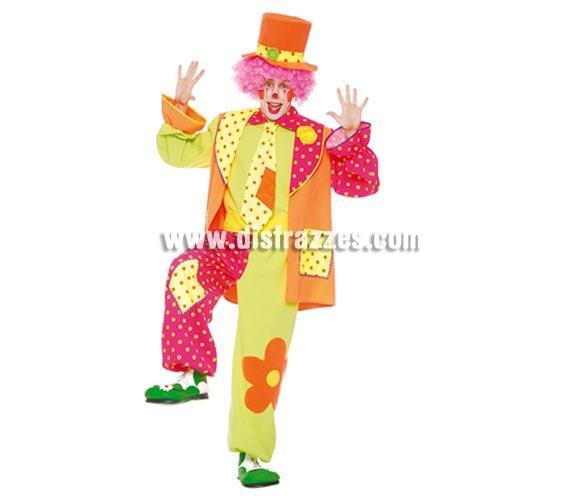 Disfraz de Payaso adulto. Talla única 52/54. Incluye gorro, camisa, chaqueta, corbata y pantalón. Peluca y zapatones NO incluidos, podrás verlos en la sección Complementos. Éste disfraz es muy original y diferente y es perfecto para Fiestas y para Carnaval.