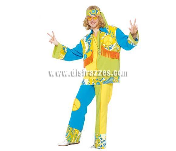 Disfraz de Hippie adulto para hombre. Talla única 52/54. Incluye cinta de la cabeza, casaca y pantalón. Peluca, collar y gafas NO incluidos, podrás velos en la sección Complementos.