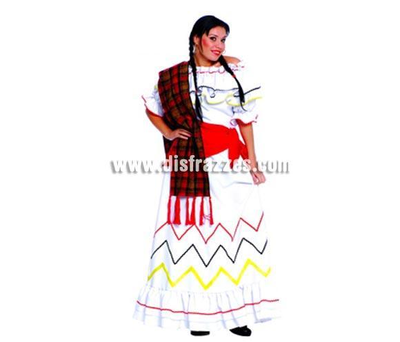 Disfraz de Mejicana adulta para mujer. Talla única válida hasta la 42/44. Incluye camisa, falda, y pañuelo cintura.