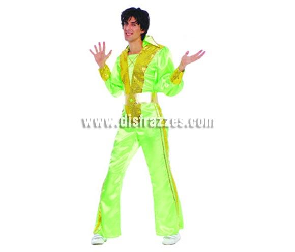 Disfraz de Hombre Pop Años 70. Talla única 52/54. Incluye mono y cinturón. Disfraz muy llamativo de hombre  para no pasar desapercibido que también podría servir como disfraz de Brasileño, Caribeño o Rumbero. Disfraz de Fiebre del sábado noche para hombre.