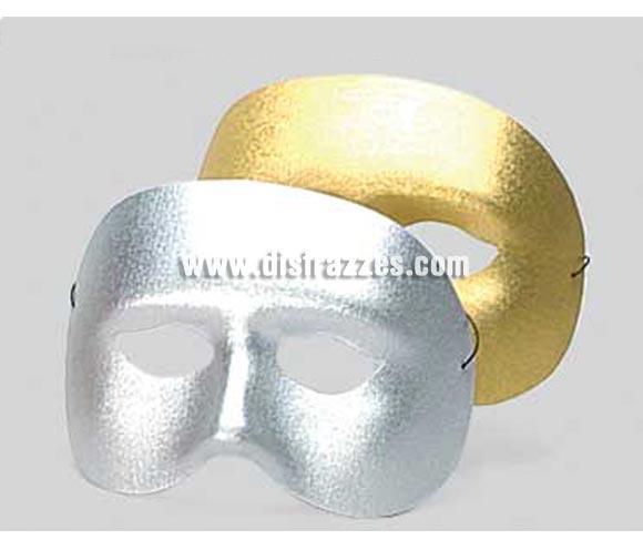 Antifaz Casanova metalizado de color Dorado. También en color Plata pero ésta referencia es el de color oro. Talla Universal. Máscara Veneciana.