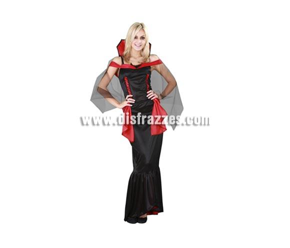 Disfraz de Vampira adulta para Halloween. Talla Standar M-L =38/42 . Disfraz de Vampiresa de Halloween que incluye cuello, capa y vestido.