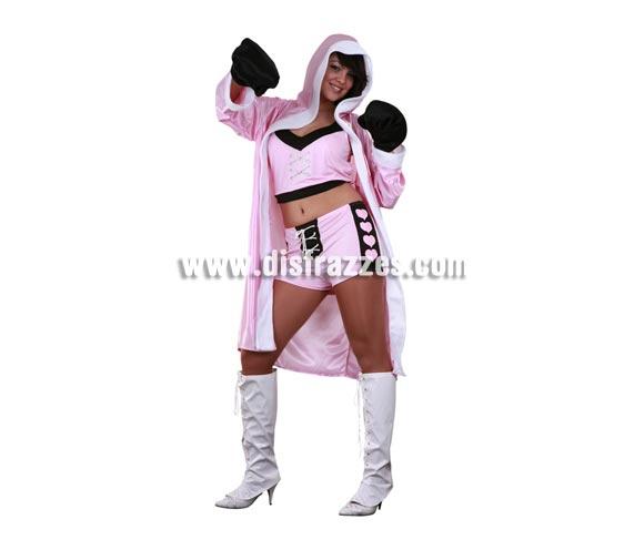 Disfraz de Boxeadora para mujer. Talla única 38/42. Incluye bata con capucha, top, pantalones y guantes. El precio está muy bien, ten en cuenta que lleva hasta los guantes.