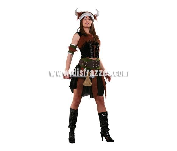 Disfraz de Vikinga Sexy adulta. Talla standar M-L = 38/42. Incluye top, manguitos brazos, falda, cinturón y gorro. Cubrebotas y hacha NO incluidos, podrás verlos en la sección Complementos. Disfraz de Bárbara Sexy para mujer.