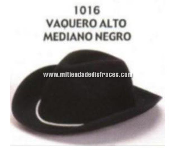 Sombrero Vaquero alto mediano negro. Buena calidad, fabricado artesanalmente en España. Posibilidad de ajuste de precio para grupos.