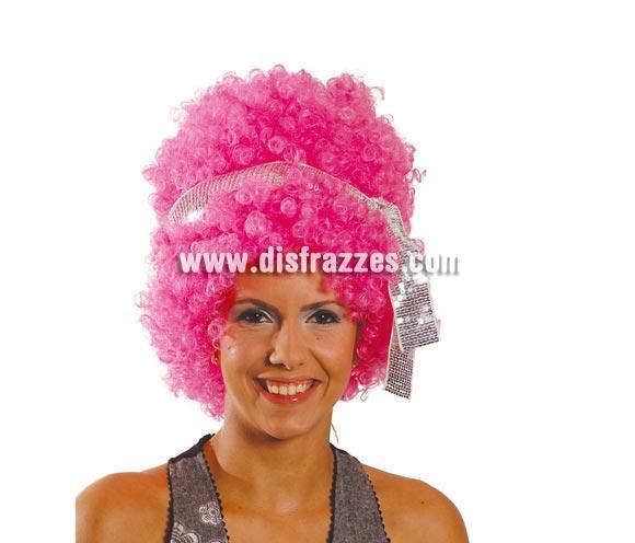 Peluca de Hippie rosa para mujer con cinta. Perfecta porque es muy llamativa para disfrazarte de Hippy o de los años 70 - 80.