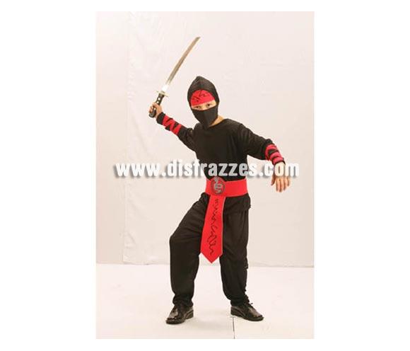 Disfraz barato de Ninja para niños de 10 a 12 años. Incluye pantalones, cinturón, cintas para los brazos, capucha, máscara y banda para la cabeza.
