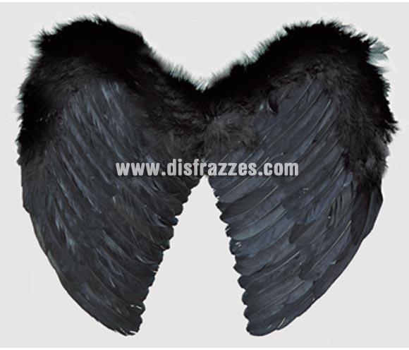 Alas de plumas negras de 44 x 38 cm. para Halloween.