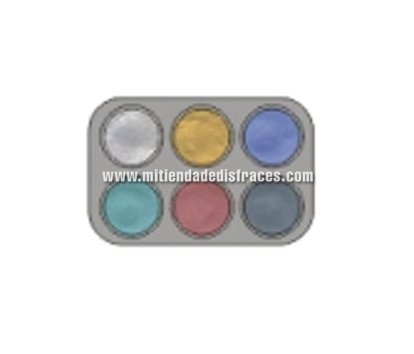 Maquillaje al agua (water make-up). Paleta de 6 colores perlados de 2,5 ml.; (blanco, oro, azul, verde, carne y plata). -Fácil de usar, (como acuarelas). -Se quita con agua y jabón. -Antialérgico.