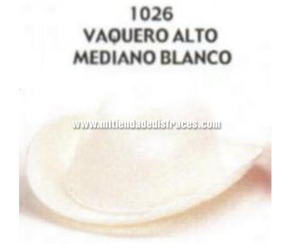 Sombrero Vaquero alto mediano blanco. Buena calidad, fabricado artesanalmente en España. Posibilidad de ajuste de precio para grupos.