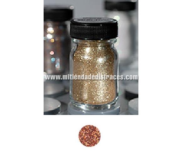Purpurina suelta (Polyglitter), de 15 ml, de color cobre. Es un brillo sencillo que se puede aplicar directamente en la piel o por encima del maquillaje, usando los dedos, una esponja para maquillaje o una brocha ligeramente húmeda. Para una mejor fijación del producto, aplique una capa delgada de Stoppelpasta o Water-soluble Mastix.