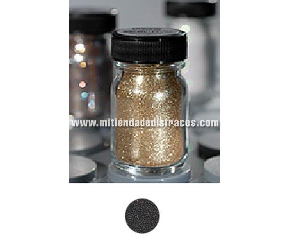 Purpurina suelta (Polyglitter), de 15 ml, de color negro-oro. Es un brillo sencillo que se puede aplicar directamente en la piel o por encima del maquillaje, usando los dedos, una esponja para maquillaje o una brocha ligeramente húmeda. Para una mejor fijación del producto, aplique una capa delgada de Stoppelpasta o Water-soluble Mastix.