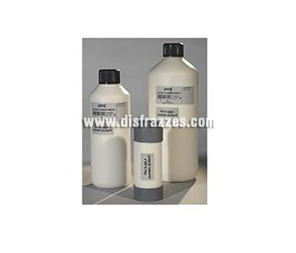 Leche de látex líquido (Latex-Rubber Milk), de 500 ml. Es un líquido que se utiliza para crear efectos especiales como quemaduras y moldes para yeso. El líquido de látex es blanco pero se vuelve transparente cuando se seca. No aplique este producto directamente en la piel. Cierre el bote una vez que lo haya utilizado. Latex-Rubber Milk no se elimina de la ropa mediante lavado.