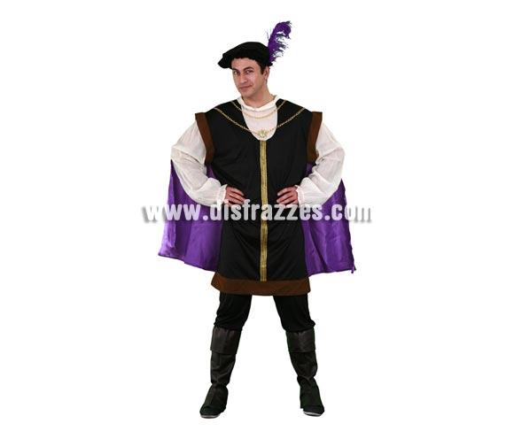 Disfraz de Lord Noble para hombre. Talla standar M-L 52/54. Incluye sombrero, casaca-blusa con capa y pantalones con cubrebotas. Disfraz de Lord Noble Medieval para hombre que también se puede definir como disfraz de Príncipe, o de Trovador, etc.