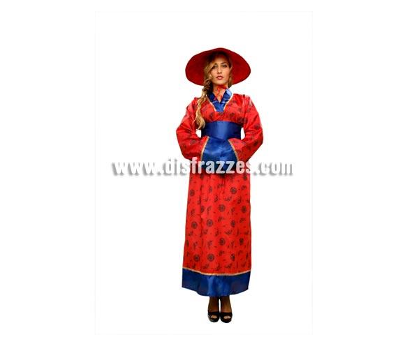 Disfraz barato de China para mujer. Talla Standar M-L 38/42. Incluye sombrero, vestido y cinturón.